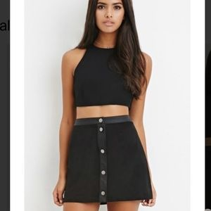 Forever 21 Faux Suede Black Mini Skirt Buttons y2k